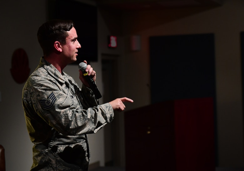 Tech. Sgt. Jimmy, 78th Attack Squadron intelligence analyst shares his personal experiences during the first Storytellers event May 10, 2017, at Creech Air Force Base, Nev. Jimmy broke 23 bones in a sky-diving accident when his parachute malfunctioned. Doctors told him he would never walk unassisted again. He now can walk and play sports and helps other work through their injuries. (U.S. Air Force photo/Senior Airman Christian Clausen)