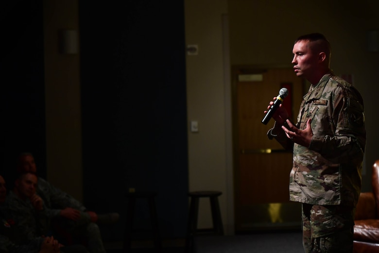 Master Sgt. Christopher, 68th Rescue Squadron firs sergeant, shares his personal experiences during the first Storytellers event May 10, 2017, at Creech Air Force Base, Nev. As a young Airman, Christopher lost his mother and grandfather while deployed. Afterwards, he faced administrative punishments for underage drinking following a night at the bar. A senior non-commissioned officer helped him through his struggles which lead him to become a first sergeant where he has helped Airmen.