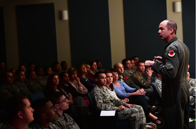 Col. David, 432nd Wing/432nd Air Expeditionary Wing vice commander, delivers the closing remarks after the first Storytellers event May 10, 2017, at Creech Air Force Base, Nev. Storytellers help Airmen connect with others through stories of overcoming adversity. (U.S. Air Force photo/Senior Airman Christian Clausen)