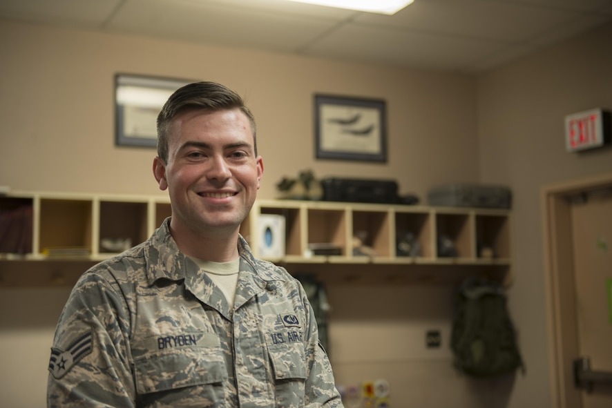 EIELSON AIR FORCE BASE, Alaska – U.S. Air Force Senior Airman Garrett Bryden, a 4th Operations Support Squadron aircrew flight equipment technician assigned to Seymour Johnson Air Force Base, N.C., poses for a photo May 4, 2017, during NORTHERN EDGE 2017 (NE17), at Eielson Air Force Base, Alaska. NE17 is Alaska's premier joint training exercise designed to practice operations, techniques and procedures as well as enhance interoperability among the services. Thousands of participants from all the services, Airmen, Soldiers, Sailors, Marines and Coast Guardsmen from active duty, Reserve and National Guard units are involved. (U.S. Air Force photo/Staff Sgt. Ashley Nicole Taylor)