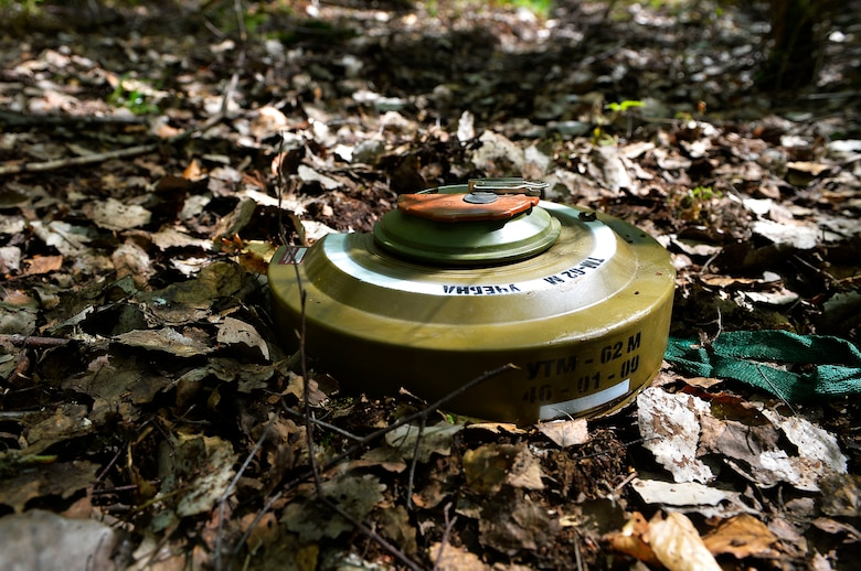 A mock landmine lies on the ground during Silver Flag on Ramstein Air Base, Germany, May 10, 2017. The exercise aimed to enhance the Air Force's contingency response readiness and includes a variety of scenarios for Airmen of various Air Force specialty codes. (U.S. Air Force photo by Airman 1st Class Joshua Magbanua)