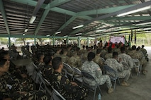Philippine and U.S. service members attend the opening ceremony for Balikatan 2017 at Fort Magsaysay in Santa Rosa, Nueva Ecija, May 8, 2017. Balikatan is an annual U.S.-Philippine bilateral military exercise focused on a variety of missions including humanitarian and disaster relief, counterterrorism, and other combined military operations.