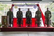 Philippine and U.S. military leaders stand during the opening ceremony of Balikatan 2017 at Fort Magsaysay in Santa Rosa, Nueva Ecija, May 8, 2017. Balikatan is an annual U.S.-Philippine bilateral military exercise focused on a variety of missions including humanitarian and disaster relief, counterterrorism, and other combined military operations.