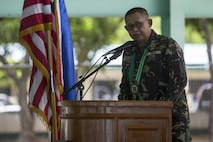 Philippine Army Maj. Gen. Angelito De Leon delivers his remarks during the opening ceremony of Balikatan 2017 at Fort Magsaysay in Santa Rosa, Nueva Ecija, May 8, 2017. De Leon is the commander of 7th Infantry Division. Balikatan is an annual U.S.-Philippine bilateral military exercise focused on a variety of missions including humanitarian and disaster relief, counterterrorism, and other combined military operations.