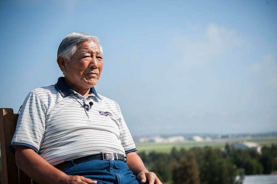 "Tatsuo ""Jimmy"" Schwartz sits for an interview May 4, 2017, at Kadena Air Base, Japan. Schwartz has served the Department of Defense for more than 50 years and has provided trusted council to numerous commanders of the 18th Wing and beyond."