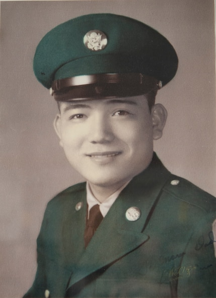 "U.S. Army Private Tatsuo ""Jimmy"" Schwartz poses for an official photo in his dress uniform. Schwartz has worked for the Department of Defense for more than 50 years."