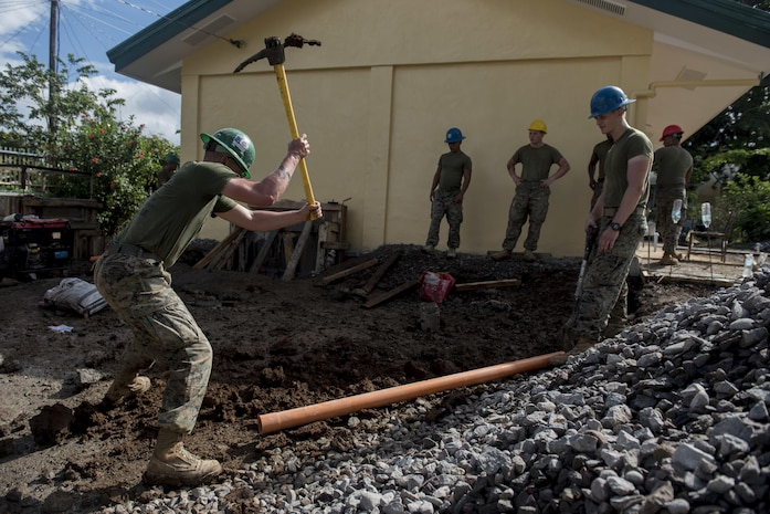 U.S. Marines dig a drainage ditch during an engineering civic assistance project in support of Balikatan 2017 in Ormoc City, Leyte, May 12, 2017. Philippine and U.S. service members worked together to build new classrooms for students at Don Carlos Elementary School. Balikatan is an annual U.S.-Philippine bilateral military exercise focused on a variety of missions, including humanitarian assistance and disaster relief, counterterrorism, and other combined military operations.