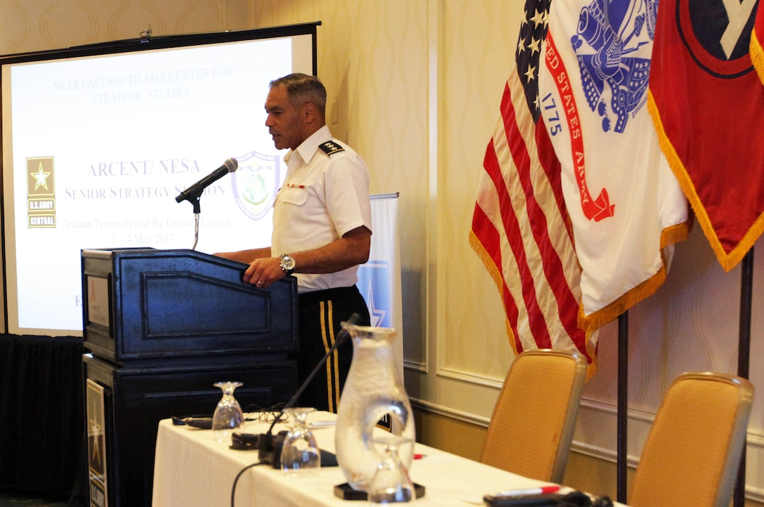 Lt. Gen. Michael Garrett, commanding general, U.S. Army Central, gives the opening remarks to the 2017 Senior Strategy Session in Tyson's Corner, Va., May 2, 2017. In his remarks, Garrett spoke on the importance of drawing from the lessons learned at the symposium to help USARCENT and its partner nations find solutions to their mutual security concerns.