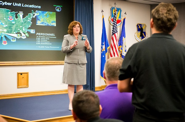 Sherri Hanson, executive director, 24th Air Force, speaks to Department of Defense's 2017 Executive Leadership Development Program participants at 25th Air Force Headquarters at Joint Base San Antonio-Lackland, Texas May 9.