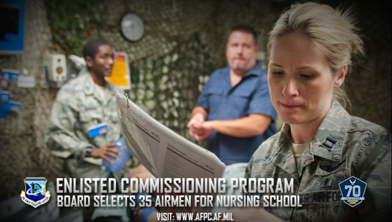 The Air Force has selected 35 active-duty enlisted Airmen for the 2017 Nurse Enlisted Commissioning Program. Airmen selected will attend nursing school full-time this fall, allowing them to focus on their education. (U.S. Air Force photo)