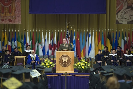 Marine Corps Gen. Joseph F. Dunford Jr., chairman of the Joint Chiefs of Staff, addresses graduates of the Saint Michael's College class of 2017 during the school's 110th Commencement in Colchester, Vt. May 14, 2017. Dunford graduated from Saint Michaels College in 1977 and has maintained close ties with the college over the years.