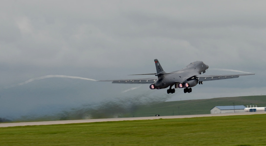 A B-1 bomber takes off as a part of the Combat Hammer exercise at Ellsworth Air Force Base, S.D., May 10, 2017. The exercise produced valuable data to combatant command planners and holistically tests the systems, procedures, and Airmen from the initial mission planning to find the final weapon employment phases. (U.S. Air Force photo by Airman 1st Class Donald C. Knechtel)