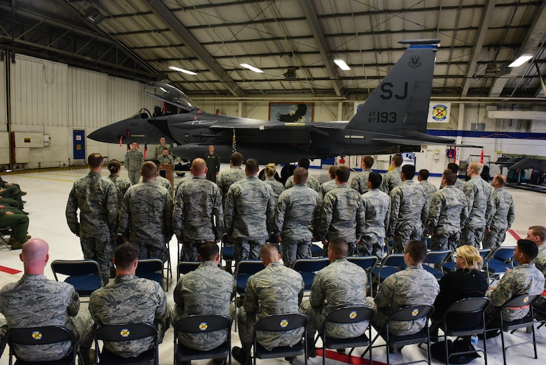 Airmen from the 4th Aircraft Maintenance Squadron recite the Mechanics Creed during a Dedicated Crew Chief ceremony, May 2, 2017, at Seymour Johnson Air Force Base, North Carolina. Twenty-two Airmen from the 334th Aircraft Maintenance Unit were appointed as dedicated crew chiefs during the ceremony. (U.S. Air Force photo by Airman 1st Class Kenneth Boyton)