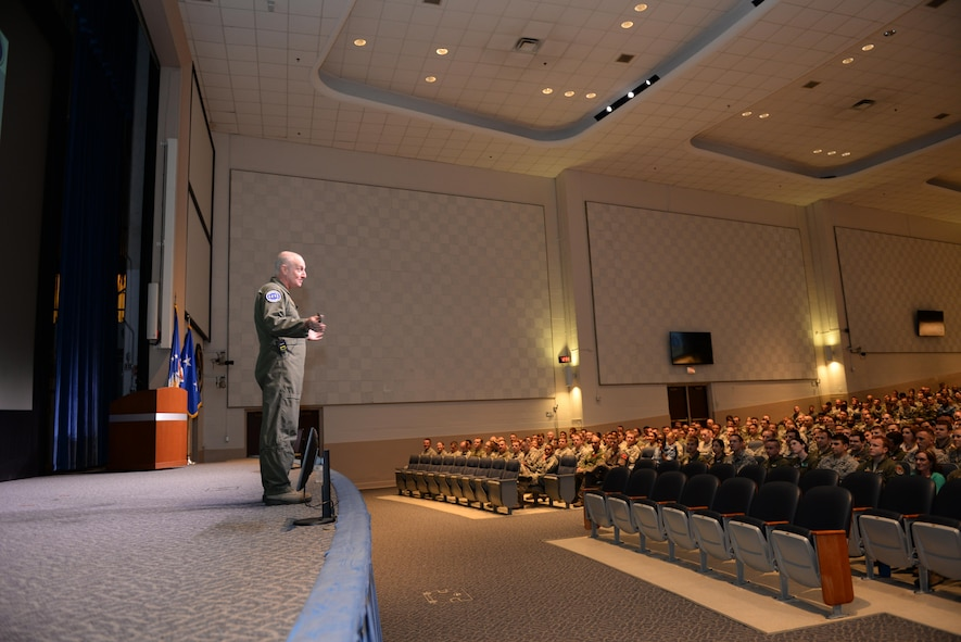 Maj. Gen. Garrett Harencak, Air Force Recruiting Service Commander, speaks to students of the Squadron Officer College on Maxwell Air Force Base, Ala., May 1, 2017. Harencak visits the SOC as often as possible to promote Airmen to tell their stories to those that may be interested in joining the Air Force. This is part of the We Are All Recruiters initiative Harencak is encouraging throughout the Air Force. (U.S. Air Force photo/Senior Airman Tammie Ramsouer)