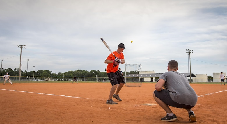 Dale Sowers, 96th Communications Squadron team, prepares to swing during his team's intramural softball game against the 33rd Maintenance Group team at Eglin Air Force Base, Fla., May 11.  The CS team won easily over the MXG team during the opening week of the intramural softball season.  (U.S. Air Force photo/Samuel King Jr.)
