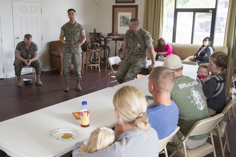 Maj. David Tran, Military Family Housing Division, G-4 Installations and Logistics, speaks with Combat Center residents during a safety forum at the Adobe District Clubhouse aboard Marine Corps Air Ground Combat Center, Twentynine Palms, Calif., May 9, 2017. (U.S. Marine Corps photo by Sgt. Connor Hancock)