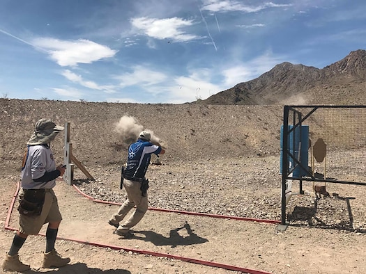 Tech Sgt. Eric Crotsley of the 552nd Maintenance Squadron at Tinker Air Force Base, competes in the open division of the Multigun Nationals on April 12-17 in Boulder City, Nev. Crotsley finished 11th. (Courtesy photo)