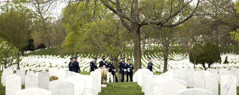 U.S. Air Force Honor Guard firing party prepare for a funeral service at Arlington National Cemetery in Arlington, Va., April 13, 2017. The firing party gives honors to fallen Airmen buried at the cemetery. (U.S. Air Force photo by Senior Airman Philip Bryant)