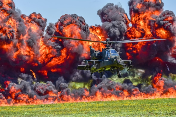 U.S. Army and Air National Guard personnel participate in the combined arms demo during the South Carolina National Guard Air and Ground Expo at McEntire Joint National Guard Base, South Carolina, May 6, 2017. This expo is a combined arms demonstration showcasing the capabilities of South Carolina National Guard Airmen and Soldiers while saying thank you for the support of fellow South Carolinians and the surrounding community. (U.S. Air National Guard photo by Senior Airman Megan Floyd)