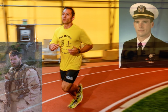 Team Schriever members will participate in The Murph fitness challenge May 19, 2017. Navy Lt. Michael Murphy created the challenge, a 1-mile run, 100 pull-ups, 200 push-ups and 300 body squats followed by another 1-mile run. Murphy was killed in action June 28, 2005, while serving in Afghanistan. Schriever hosts one of many Murph events worldwide near Memorial Day in his honor. (U.S. Air Force photo illustration/Brian Hagberg)
