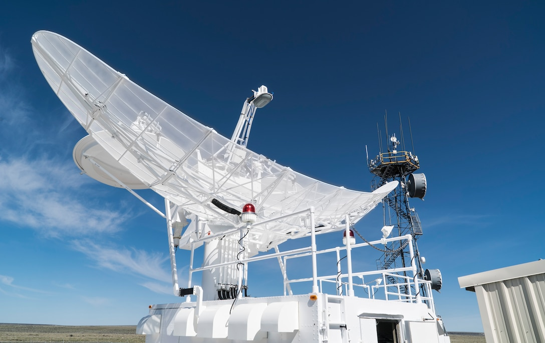 The dish for the 266th Range Squadron's Multiple Threat Emitter System shines in the morning sun at the Mountain Home Air Force Base Range Complex in Idaho May 9, 2017. The system can simulate 65 different types of ground threats to help train air crews through scenarios that mimic real enemy threats the crews might face. (U.S. Air Force photo/Staff Sgt. Samuel Morse)