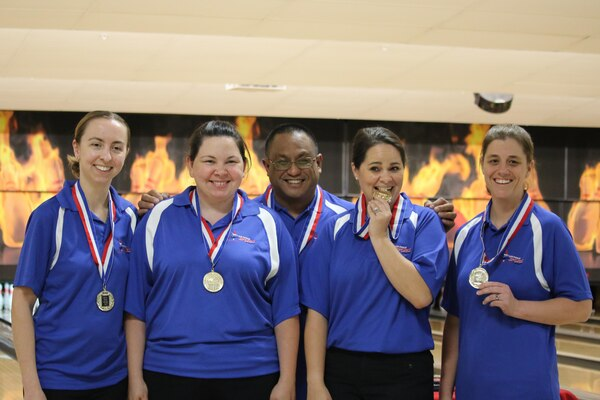 Air Force Women win the 2017 Armed Forces Women's Team Gold at the Armed Forces Bowling Championship hosted at Marine Corps Base Camp Pendleton, California from 5-8 May at the Leatherneck Lanes. Pictured here is:  Capt Danielle Crowder, Little Rock AFB, Ark.; Senior Master Sgt. Victoria Bartos, Kadena AB, Japan; TSgt Natasha Sanchez, Travis AFB, Calif. Tech. Sgt. Lisa Yanez, Nellis AFB, Nevada.