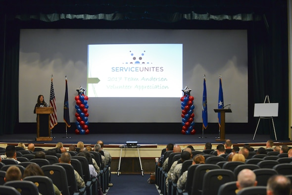 Alison Hadley, executive director at Guam Animals In Need (GAIN), speaks at the Service Unites volunteer appreciation ceremony, April 26, 2017, at Andersen Air Force Base, Guam. During the ceremony, more than 300 Team Andersen members were recognized for volunteering more than 33,000 hours in 2016. (U.S. Air Force photo by Airman 1st Class Christopher Quail)