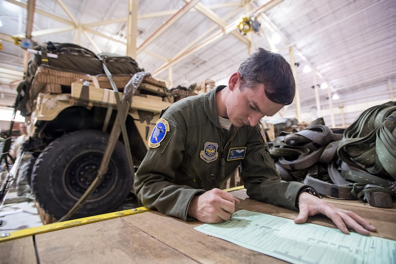 Senior Airman Wesley Zech, a 43d Operations Support Squadron joint airdrop inspector, completes paperwork to clear heavy equipment for airdrop after an inspection at the Army's Heavy Drop Rigging Facility here April 26. Zech worked with fellow 43d OSS inspectors to ensure more than 200 tons of cargo were ready for airdrop from Air Force C-17s and C-130s flying out of Pope Field during a large package joint training exercise April 26-30. The 43d OSS is part of the Air Force's 43d Air Mobility Operations Group, which provides 24/7 operational and training mission support for visiting Air Mobility Command aircraft and crews, for the 82nd Airborne Division and other Army units here, and for joint special forces units at Fort Bragg. (U.S. Air Force photo/Marc Barnes)