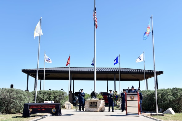 U.S. Air Force Col. Michael Downs, 17th Training Wing commander, speaks at the Department of Defense Fallen Firefighter Memorial on Goodfellow Air Force Base, Texas, May 12, 2017. During his speech, he talked about the professionalism exhibited in all firefighters. (U.S. Air Force photo by Staff Sgt. Joshua Edwards/Released)