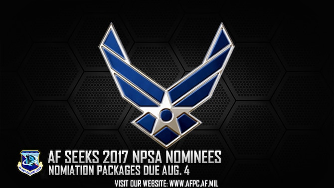 Air Force officials are currently accepting submissions for the 2017 National Public Service Award. The American Society for Public Administration and the National Academy of Public Administration established the award to honor individuals whose outstanding contributions and accomplishments allow them to be viewed as models of public service in and out of the work environment. (U.S. Air Force graphic by Staff Sgt. Alexx Pons)