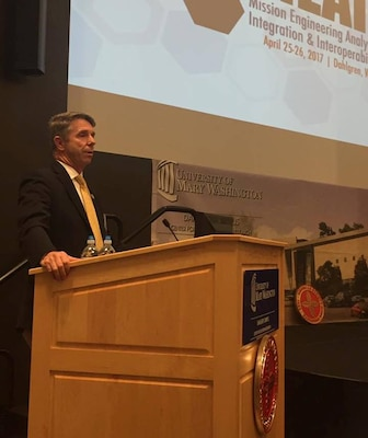 "DAHLGREN, Va. (April 25, 2017) - Rep. Rob Wittman, R-Va., tells Navy scientists and engineers that their innovative ideas - and ability to get new technologies and systems operational in the Fleet quickly - will be leveraged to the nation's advantage. ""Keep the ideas coming and let's find a way to get them to the Fleet faster,"" said Wittman who chairs the Seapower and Projection Forces Subcommittee of the House Armed Services Committee. ""We can bring innovation creation in a faster manner to our men and women out there in the front lines, and we can do things less expensively."" More than two dozen speakers, including the congressman, spoke at the conference on Mission Engineering & Analysis, and Integration & Interoperability, sponsored by the American Society of Naval Engineers and Naval Surface Warfare Center Dahlgren Division.  (Courtesy photo/Released)"