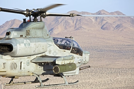 An AH-1Z Viper with Marine Light Attack Helicopter Squadron (HMLA) 469 participates in a close-air support exercise during Integrated Training Exercise (ITX) 3-17 at Marine Corps Air Ground Combat Center Twentynine Palms, Calif., May 8. ITX is a combined-arms exercise enabling units across 3rd Marine Aircraft Wing to operate as an aviation combat element integrated with ground and logistics combat elements as a Marine air-ground task force. More than 650 Marines and 27 aircraft with 3rd MAW are supporting ITX 3-17.  (U.S. Marine Corps photo by Lance Cpl. Becky L. Calhoun/Released)