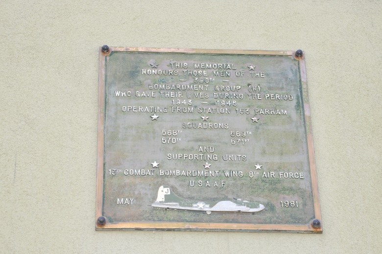 A plaque commemorating those who served as part of the 390th Bombardment Group (Heavy) who gave their lives between 1943 and 1945 is on display May 10, 2017, at the Parham Airfield Museum, near Framlingham, Suffolk. World War II veterans from the 100th Bombardment Group (Heavy), their families and other members of the 100th BG Foundation visited RAF Mildenhall and and toured former East Anglian World War II bases including Thorpe Abbots, Horham and Rattlesden. (U.S. Air Force photo by Karen Abeyasekere)