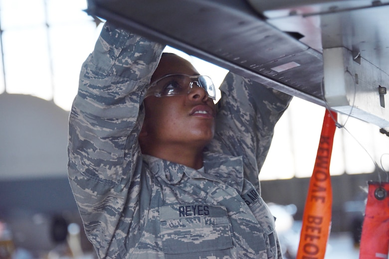 Airman Jewel Reyes, 363rd Training Squadron A-10 students, learns how to remove and install a dual rail adapter on station one of the A-10 aircraft at Sheppard Air Force Base, Texas, March 23, 2017. This training course lasts approximately 68 days. (U.S. Air Force photo by Liz H. Colunga/Released)