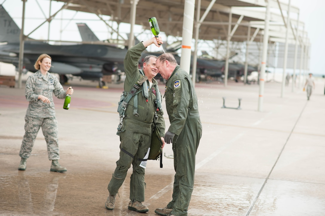 Maj. Gen. Richard Scobee celebrated with members of Tenth Air Force and the 301st Fighter Wing after his final flight as Tenth Air Force Commander Wednesday, May 10.
