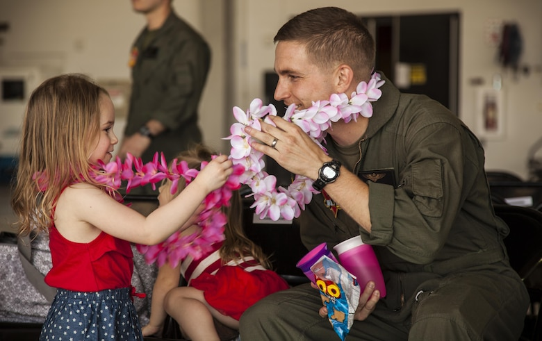 U.S. Marines assigned to Marine Attack Squadron (VMA) 311 return to Marine Corps Air Station Yuma, Ariz., after their deployment with the 11th Marine Expeditionary Unit Thursday, May 11, 2017. The 11th MEU embarked mid-October 2016 aboard the Makin Island Amphibious Ready Group, trained alongside armed forces from foreign nations, and supported operations throughout the Western Pacific, Middle East and Horn of Africa.