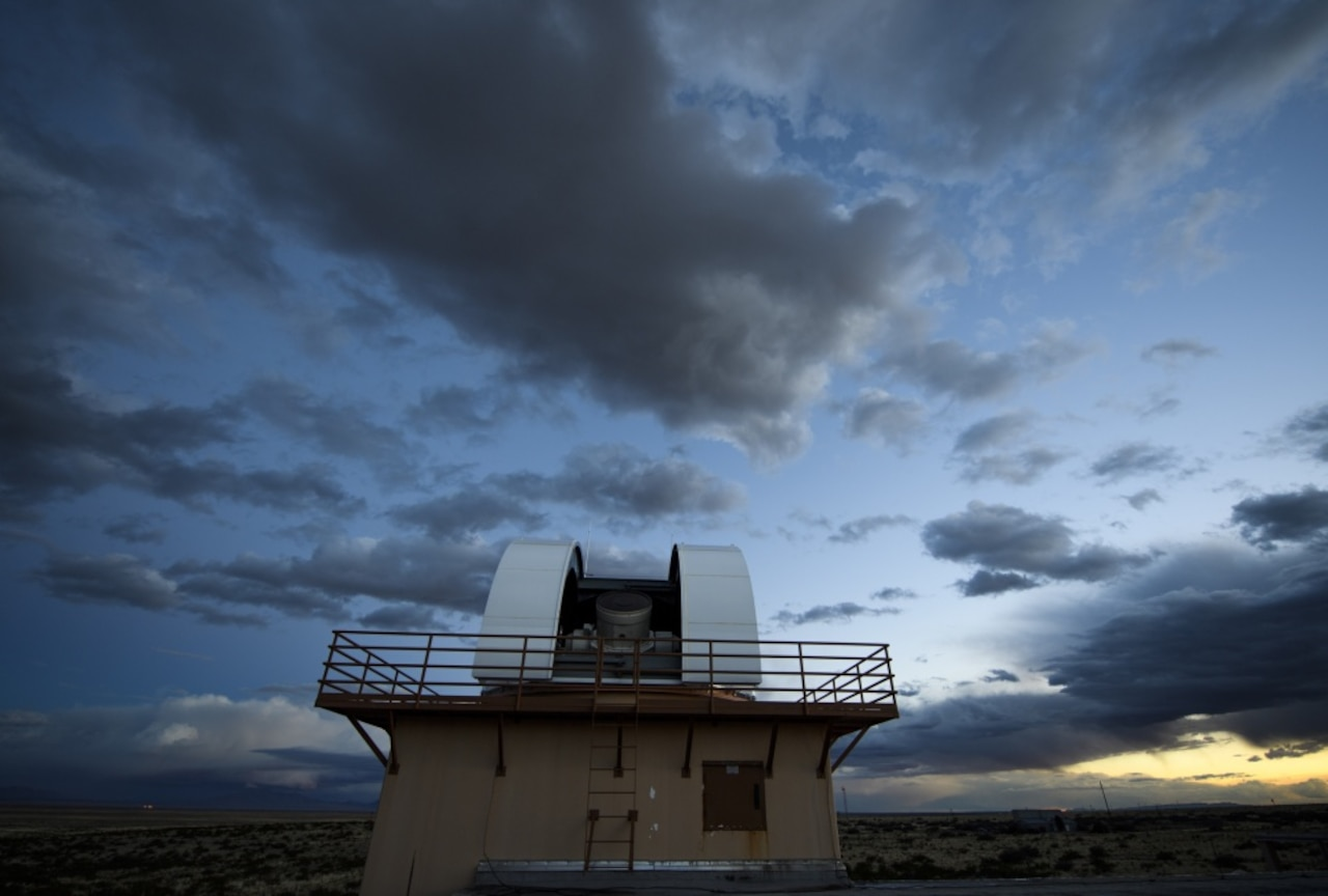 Clouds pass by a Ground-Based Electro-Optical Deep-Space Surveillance telescope located on White Sands Missile Range, N.M., March 29, 2017. Air Force photo by Tech. Sgt. David Salanitri