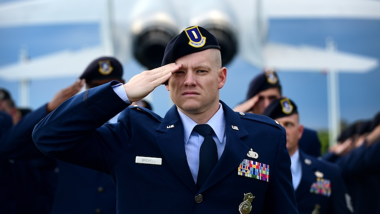 U.S. Air Force 2nd Lt. Michael Brickell, 633rd Security Forces Squadron operations officer, leads a formation during the National Police Week opening ceremony at Joint Base Langley-Eustis, Va., May 15, 2017. During the week, the 633rd SFS hosted various events including a Defenders Challenge and Security Forces Demonstration to honor military and civilian law enforcement officers who paid the ultimate sacrifice in the line of duty. (U.S. Air Force photo/Staff Sgt. Areca T. Bell)