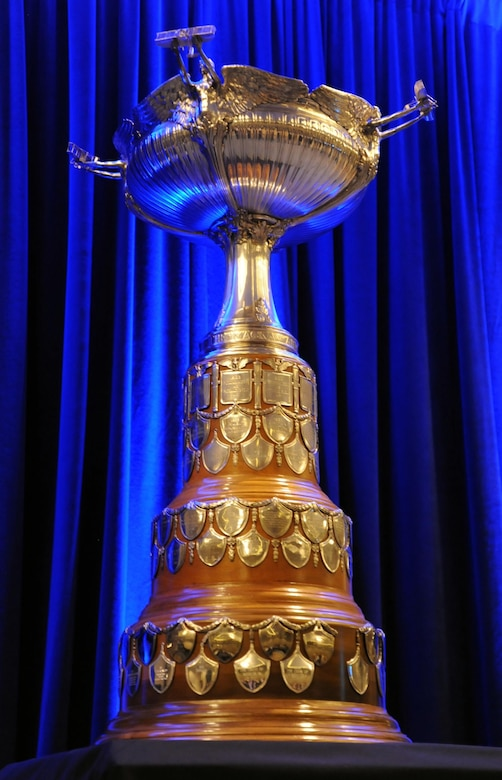 Every year, an aircrew is selected for the Clarence Mackay Trophy, which is presented to an aircrew for accomplishing the most meritorious flight of the year. The trophy is permanently displayed at the National Air and Space Museum. (Courtesy Photo)