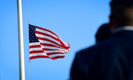 U.S. Air Force Airmen assigned to the 633rd Security Forces Squadron participate during the National Police Week opening ceremony at Joint Base Langley-Eustis, Va., May 15, 2017. In 1994, President Bill Clinton signed Public Law 103-322 directing that the flag of the United States be displayed at half-staff on all government buildings on May 15 each year. (U.S. Air Force photo/Staff Sgt. Areca T. Bell)