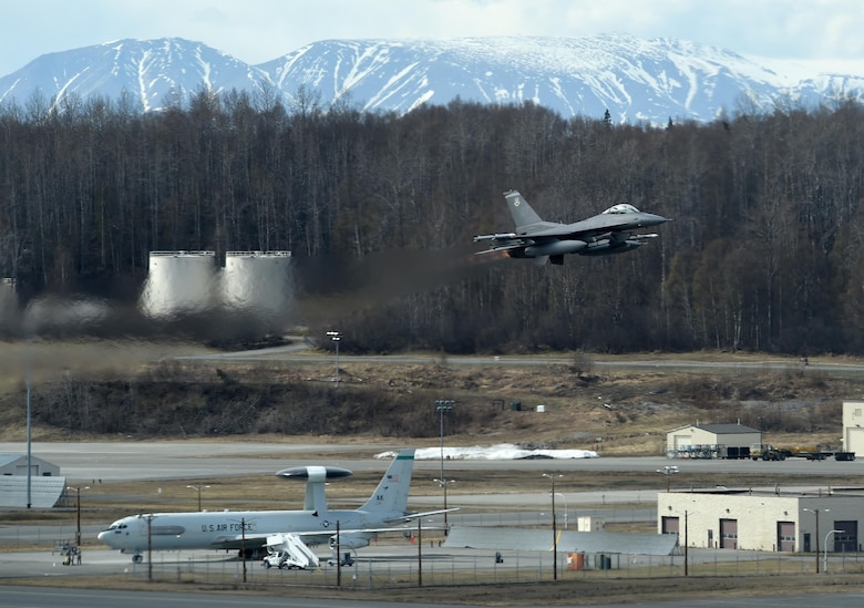 An F-16 Fighting Falcon from Eglin Air Force Base Fla., takes off at Joint Base Elmendorf-Richardson, Alaska, during exercise Northern Edge 17, May 3, 2017. Northern Edge is Alaska's premier joint training exercise designed to practice operations, techniques and procedures as well as enhance interoperability among the services. Thousands of participants from all the services – Airmen, Soldiers, Sailors, Marines and Coast Guardsmen from active duty, Reserve and National Guard units – are involved. (U.S. Air Force photo by Airman 1st Class Javier Alvarez)