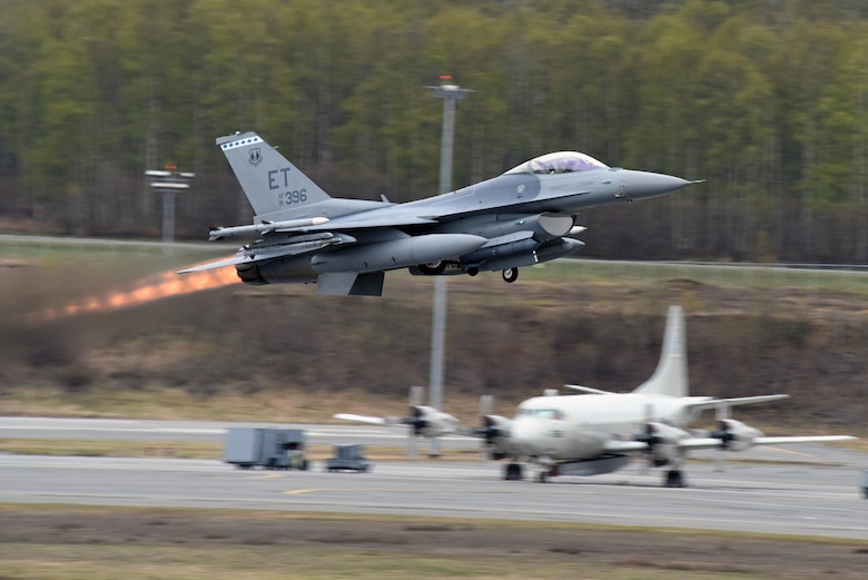 JOINT BASE ELMENDORF-RICHARDSON, Alaska -- A U.S. Air Force F-16 Falcon from Eglin Air Force Base, Fla., departs the runway May 9, 2017, in support of Exercise Northern Edge 2017. Northern Edge is Alaska's largest and premier joint training exercise designed to practice operations, techniques and procedures, as well as enhance interoperability among the services. Thousands of participants from all the services—Airmen, Soldiers, Sailors, Marines and Coast Guard personnel from active duty, Reserve and National Guard units—are involved. (U.S. Air Force photo/Master Sgt. John Gordinier)