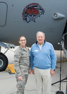 Airman Rebeckah  Eggleston, 3d Airlift Squadron assigned to the squadron aviation resource manager section and General William Begert (Ret) pose next to the nose art on a C-17 Globemaster III at the 3d Airlift Squadron 75TH Anniversary Nose Art Unveiling Ceremony May 12, 2017, at Dover Air Force Base, Del. Eggleston is the newest member of the 3d AS. Begert is a former commander of the 3d AS and the Pacific Air Forces. (U.S. Air Force photo by Mauricio Campino)