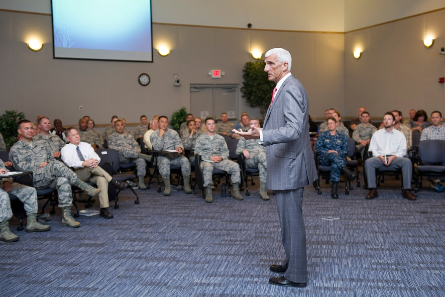 Retired Lt. Gen. Mark Hertling, U.S. Army, shares his passion about discovering the key elements of effective leadership May 11, 2017, at Patrick Air Force Base, Fla. Hertling's presentation was part of the 45th Force Support Squadron's Leadership Speaker Series and provided resources to help individuals become successful leaders. (U.S. Air Force photo by Phil Sunkel)