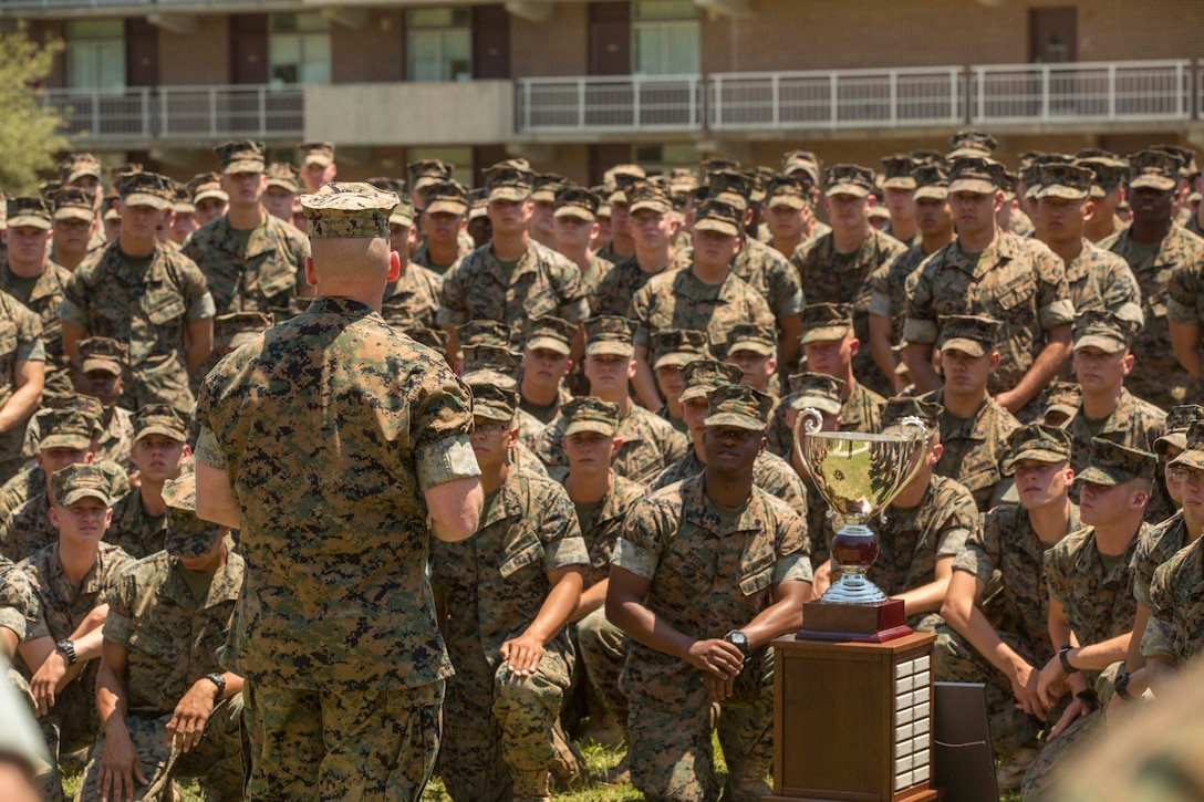 Major Gen. John K. Love, the commanding general of 2nd Marine Division, speaks to Marines during a Chesty Puller award ceremony at Camp Lejeune, N.C., May 15, 2017. The Marines earned the award due to their impressive conduct in combat, garrison and in the field of innovation throughout the calendar year of 2016. The Marines are with 2nd Battalion, 6th Marine Regiment, 2nd Marine Division. (U.S. Marine Corps photo by Pfc. Abrey D. Liggins)