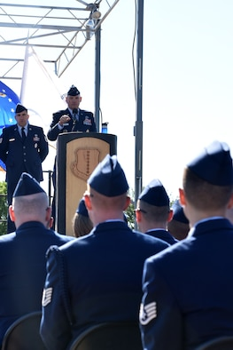 U.S. Air Force Col. Michael Downs, 17th Training Wing commander, speaks at the Community College of the Air Force graduation at the parade field on Goodfellow Air Force Base, Texas, May 12, 2017. During his speech, Downs highlighted Airmen that completed their CCAF under special circumstances such as working a second job. (U.S. Air Force photo by Staff Sgt. Joshua Edwards/Released)