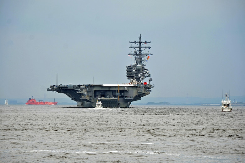 The U.S. Navy's forward-deployed aircraft carrier, USS Ronald Reagan (CVN 76), departs Fleet Activities (FLEACT) Yokosuka for its 2017 patrol. FLEACT Yokosuka provides, maintains, and operates base facilities and services in support of 7th Fleet's forward-deployed naval forces, 71 tenant commands, and 26,000 military and civilian personnel, May 16, 2017.