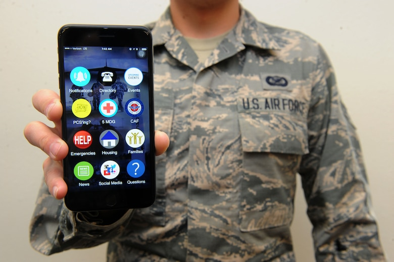 The Team Minot Mobile application is now available for download for Apple and Android devices. This application provides real-time updates and resources for Minot Air Force Base personnel, their families and community members. (U.S. Air Force photo/Airman 1st Class Jessica Weissman)