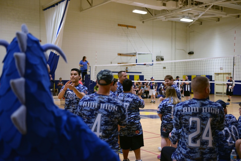 The 'Boots' team, made up of Keesler Airmen and Special Olympics athletes, pump each other up during the Boots vs. Badges volleyball game at the Blake Fitness Center, May 13, 2017, on Keesler Air Force Base, Miss. Keesler Airmen competed against City of Biloxi police officers and firefighters as the starting event for the 2017 Special Olympics Mississippi Summer Games, which will be hosted on base for the 31st year May 19-21. (U.S. Air Force photo by Senior Airman Duncan McElroy)