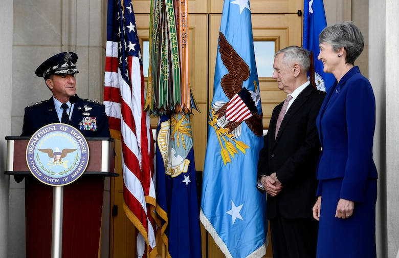 Air Force Chief of Staff Gen. David L. Goldfein congratulates Secretary of the Air Force Heather Wilson during her ceremonial oath, making her the 24th secretary during a Pentagon event, May 16, 2017.  Secretary of Defense Jim Mattis delivered the oath during the ceremony. (U.S. Air Force photo/Scott M. Ash)